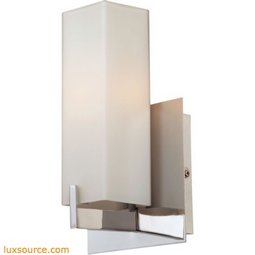 Moderno 1 Light Sconce In Matte Satin Nickel And White Opal Glass