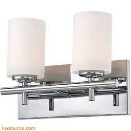 Barro 2 Light Vanity In Chrome And White Opal Glass