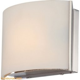 Pandora 1 Light Vanity In Satin Nickel And White Opal Glass