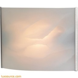 Pannelli 1 Light Vanity In Stainless Steel And Hand-Moulded White Alabaster Glass