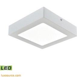 Warwick 1 Light Square LED Flushmount In Matte White - Medium