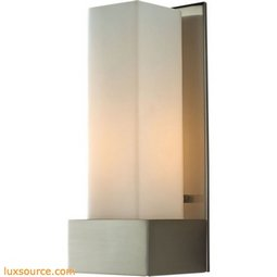 Solo Tall 1 Light Sconce In Satin Nickel With White Opal Glass