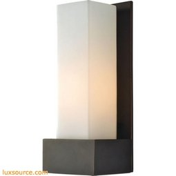 Solo Tall 1 Light Sconce In Oil Rubbed Bronze With White Opal Glass
