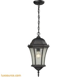Wellington Park 1 Light Exterior Hanging Lamp In Weathered Charcoal