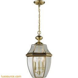 Ashford 3 Light Exterior Hanging Lantern In Antique Brass