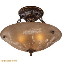 Restoration Flushes 3 Light Semi Flush In Antique Golden Bronze 08096-AGB