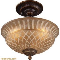 Restoration Flushes 3 Light Semi Flush In Antique Golden Bronze 08097-AGB