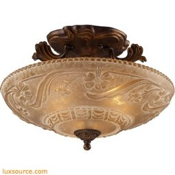 Restoration Flushes 3 Light Semi Flush In Antique Golden Bronze 08101-AGB