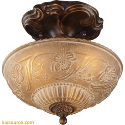 Restoration Flushes 3 Light Semi Flush In Antique Golden Bronze 08103-AGB