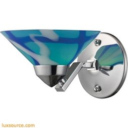 Refraction 1 Light Wall Sconce In Polished Chrome And Carribean Glass 1470/1CAR