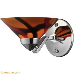 Refraction 1 Light Wall Sconce In Polished Chrome And Jasper Glass 1470/1JAS