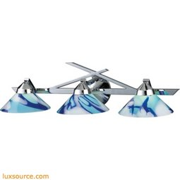Refraction 3 Light Vanity In Polished Chrome And Carribean Glass 1472/3CAR