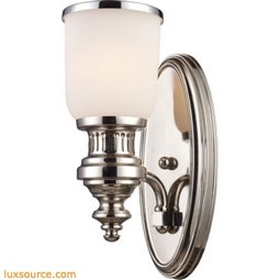 Chadwick 1 Light Wall Sconce In Polished Nickel And White Glass 66110-1