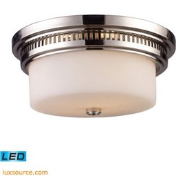 Chadwick 2 Light LED Flushmount In Polished Nickel And White Glass 66111-2-LED