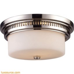 Chadwick 2 Light Flushmount In Polished Nickel And White Glass 66111-2