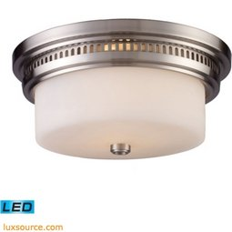 Chadwick 2 Light LED Flushmount In Satin Nickel And White Glass 66121-2-LED