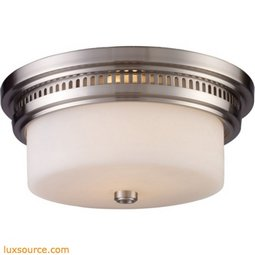 Chadwick 2 Light Flushmount In Satin Nickel And White Glass 66121-2