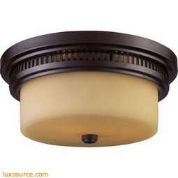 Chadwick 2 Light Flushmount In Oiled Bronze And White Glass 66131-2