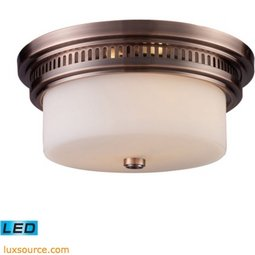 Chadwick 2 Light LED Flushmount In Antique Copper And White Glass 66141-2-LED