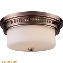 Chadwick 2 Light Flushmount In Antique Copper And White Glass 66141-2