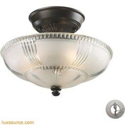 Restoration Flushes 3 Light Semi Flush In Oiled Bronze - Includes Recessed Lighting Kit 66335-3-LA
