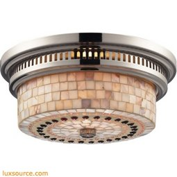 Chadwick 2 Light Flushmount In Polished Nickel And Cappa Shells 66411-2