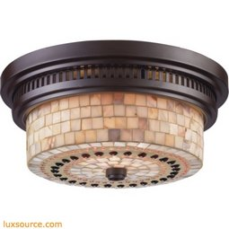 Chadwick 2 Light Flushmount In Oiled Bronze And Cappa Shells 66431-2