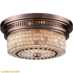 Chadwick 2 Light Flushmount In Antique Copper And Cappa Shells 66441-2