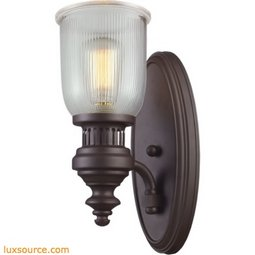 Chadwick 1 Light Wall Sconce In Oiled Bronze And Halophane Glass 66760-1