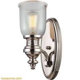 Chadwick 1 Light Wall Sconce In Polished Nickel And Halophane Glass 66780-1