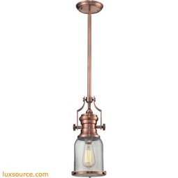 Chadwick 1 Light Pendant In Antique Copper And Seeded Glass 67712-1