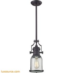 Chadwick 1 Light Pendant In Oil Rubbed Bronze And Seeded Glass 67722-1