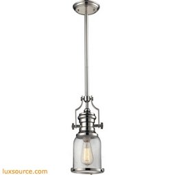 Chadwick 1 Light Pendant In Polished Nickel And Seeded Glass 67732-1
