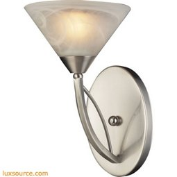 Elysburg 1 Light Wall Sconce In Satin Nickel And White Glass 7630/1
