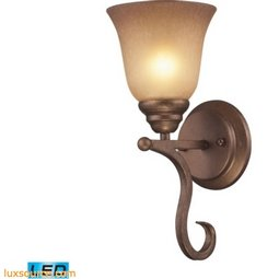 Lawrenceville 1 Light LED Wall Sconce In Mocha With Antique Amber Glass 9320/1-LED
