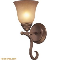 Lawrenceville 1 Light Wall Sconce In Mocha With Antique Amber Glass 9320/1