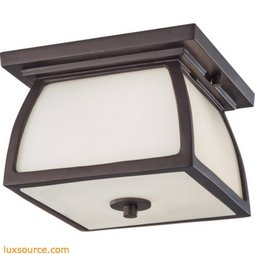 Wright House Light Outdoor Flushmount - 1 - Light - Opal