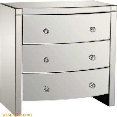Bow Front 3-Drawer Mirror Chest