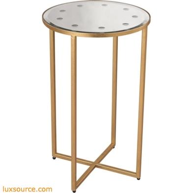 Cross Base Mirror Top Side Table