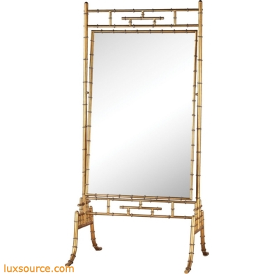 Brunei Antique Gold 70-Inch Metal and Glass Standing Mirror