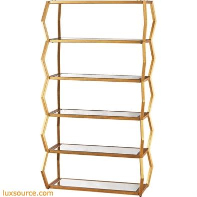 Anjelica Bookshelf In Gold Leaf And Clear Mirror