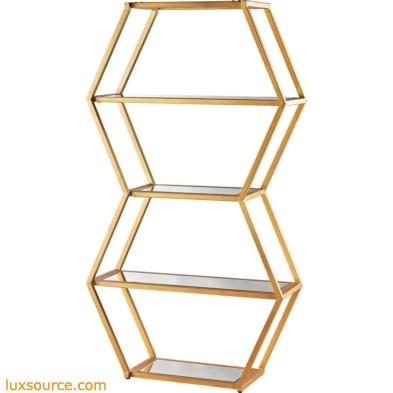 Vanguard Book Shelf In Gold Leaf And Clear Mirror
