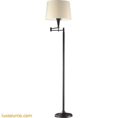 Swingarms - 1 Light Swingarm Floor Lamp In Aged Bronze With Beige Shade