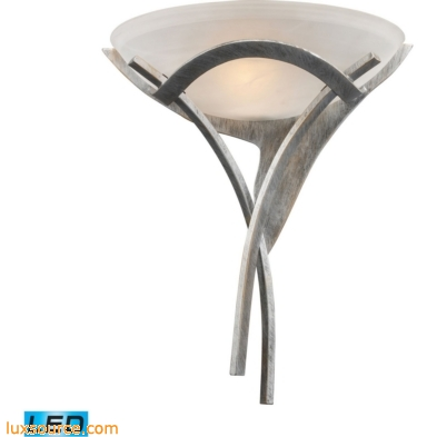 Aurora 1 Light LED Sconce In Tarnished Silver With White Faux-Alabaster Glass 001-TS-LED