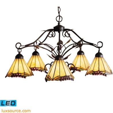 Grape Trellis 5 Light LED Chandelier In Antique Iron