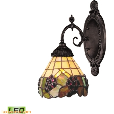 Mix-N-Match 1 Light LED Wall Sconce In Vintage Antique And Stained Glass 071-TB-07-LED