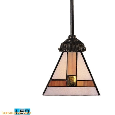 Mix-N-Match 1 Light LED Pendant In Tiffany Bronze And Multicolor Glass 078-TB-01-LED