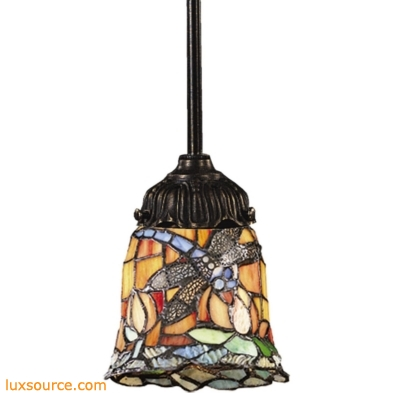 Mix-N-Match 1 Light Pendant In Tiffany Bronze And Multicolor Glass 078-TB-12