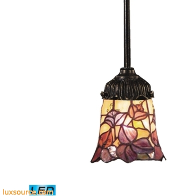 Mix-N-Match 1 Light LED Pendant In Tiffany Bronze And Multicolor Glass 078-TB-17-LED