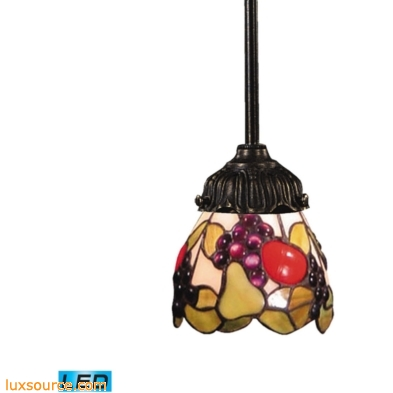 Mix-N-Match 1 Light LED Pendant In Tiffany Bronze And Multicolor Glass 078-TB-19-LED
